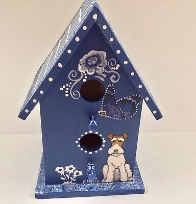 hand painted wire fox terrier bird house