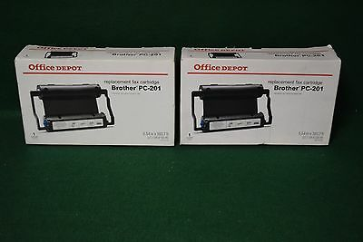 Lot of 2 Office Depot Brother PC-201 Thermal Fax Cartridges NEW
