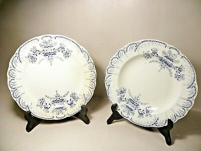 Antique St Amand dinner + soup plate Blue floral French transferware