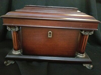 GORGEOUS GLASS WOOD FINISH JEWELRY BOX W PEWTER ELEPHANT FEET