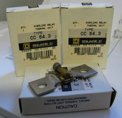 Lot of 3 New Old stock NOS Square D CC 64.3 Starter Overload Relay Thermal Unit