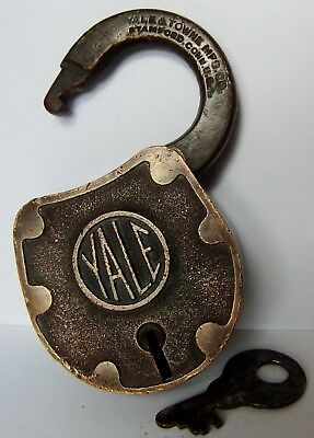 Vintage ~ Old Brass Yale No.27  Padlock ~ w/ Key