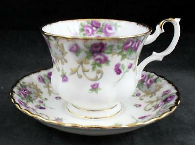 Royal Albert FLOWER OF THE MONTH (HAMPTON SHAPE) Footed Cup & Saucer GREAT COND
