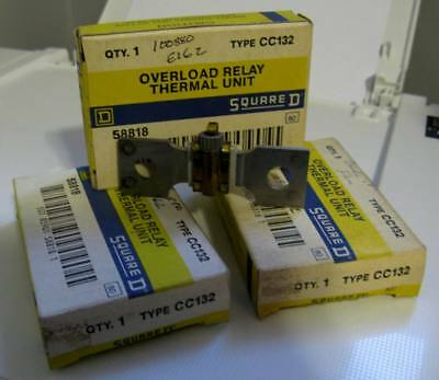 Lot of 3 New Old stock NOS Square D CC132 Starter Overload Relay Thermal Unit
