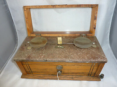 Henry Troemner 1/2 Ounce Marble Top Wood Apothecary or Druggist Balance Scale