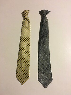 2 Boys Clip On Neck Ties Lot George Yellow with Blue, Green