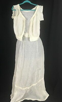 """Antique Edwardian Girls Jacket and Skirt Sold """"As Is"""" Off White"""