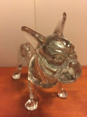 Flint Glass Standing Boston Terrier French Bulldog Dog Clear Candy Dish Lid Box