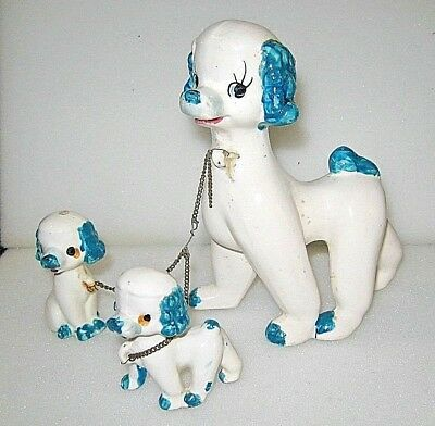 Vintage Mother Dog 2 Pups Puppies on Chain - Ceramic Figurine Blue
