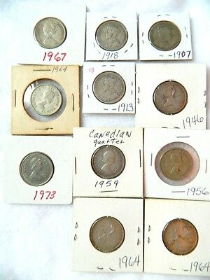 Lot Of 11 Canadian Silver Quarters 1907,1913,1918,1946,1956,1959,1964,,1967,1973