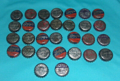 30 Lot Vintage Bottle Caps with Corks Barg's Root Beer Cream Soda Crass Grape