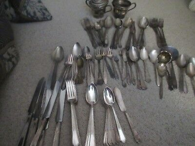 SILVERPLATE flatware mixed lot of 86 pieces includes spoons, forks, serving