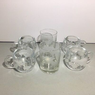 Nestle Co Nescafe Frosted World Globe Mugs (4) Tumblers (2) Set Collectable