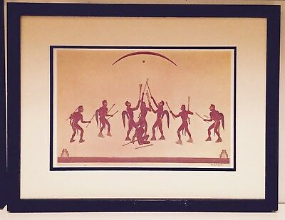 Acee Blue Eagle Lithograph Stickball Players Framed Native American