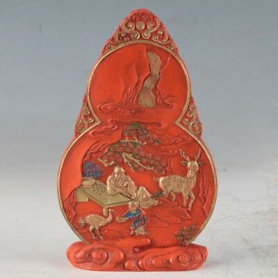 Chinese Cinnabar Hand Carved Statue Made During The DaQing YongZheng Period /