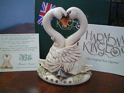 Valentine Romance Harmony Kingdom Heart's Desire Swans UK Made Box Figurine NIB
