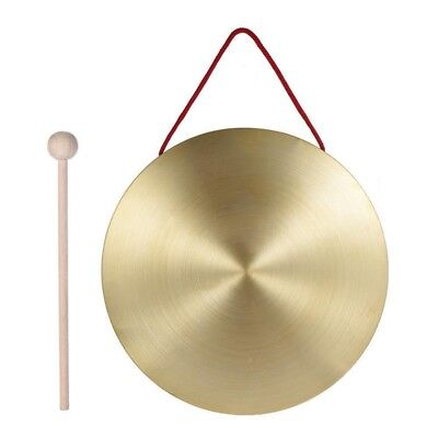 22cm Hand Gong Brass Copper Chapel Opera Percussion with Round Play Hammer R7N8