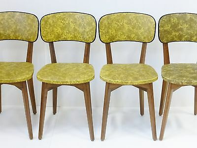 Suite 4 Chairs Camo Yellow & Black Vintage French 50's Rockabilly Chairs