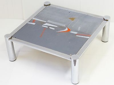 Nisco : Large Coffee Table Frame Chrome Plateau Ceramic 1970 Vintage 70S