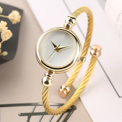 Elegant Yellow Gold Steel Wire Strap Round Women Lady Dress Quartz Wrist Watches