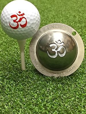 1 only TIN CUP GOLF BALL MARKER - OM - Peace & Tranquility - Yours For Life