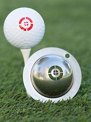 1 only TIN CUP GOLF BALL MARKER - TAKE AIM - & YOURS FOR LIFE , EASY TO DO