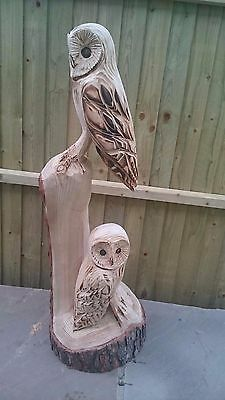 Chainsaw carved / carving double Owl sculpture