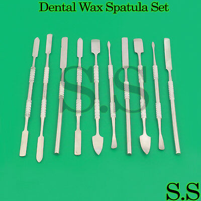Metal Spatula 10 Piece Set Kit Tools Dental Carver Wax Clay Surgical Instruments