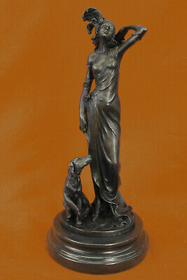 Handmade sculpture art deco lady with dog Hand Made Figurine Figure Deco Art