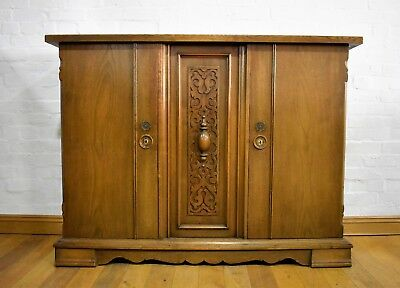 Antique vintage large double bookcase / side cabinet