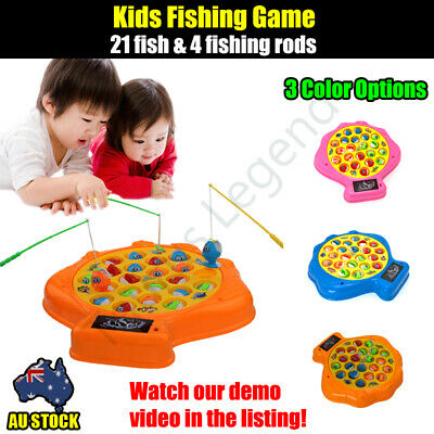 Kids Fishing Game 4 Fishing Rods 21 Fish Table Board Game Toy 3 Color Options