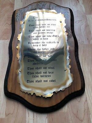 VIntage The Ten Commandments Wood and Brass Wall Plaque 10 1/2x18 1/2