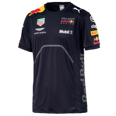 Aston Martin Red Bull Racing F1 Puma Team T-shirt Blau Offiziell 2018