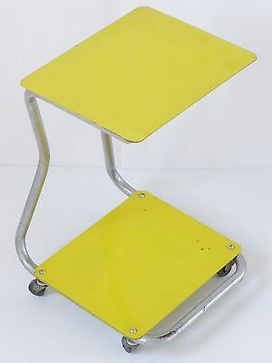 Table Round Table On Wheels Double Plate Sheet Metal Yellow 1950 Vintage 50S
