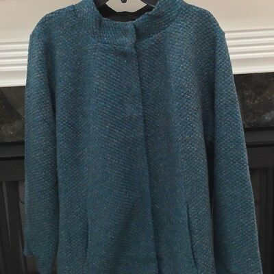 The Limited 1X 2X 3X Coat Deep Lake teal blue color black lining marled wool NWT