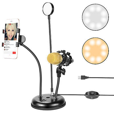 Neewer Broadcast USB LED Selfie Ring Light with Cell Phone and Microphone Holder