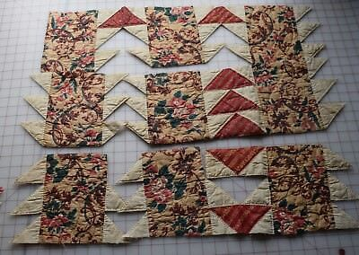 5 pieces 1830-50's Flying Geese quilt, beautiful Turkey red, chintz