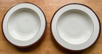 "Lenox MONROE Presidential China Collection 2  9"" Rimmed Soup Bowls ~ NEW w/Label"