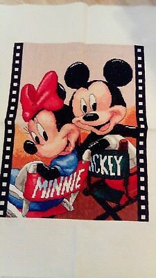 Disney completed cross stitch Mickey and Minnie