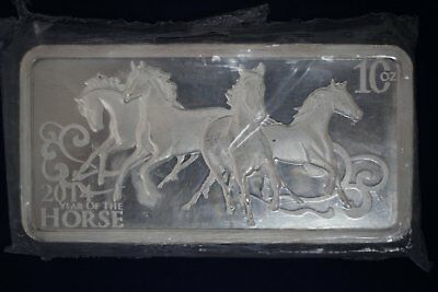 2014 10 oz Silver Bar .999 Fine Year of the Horse