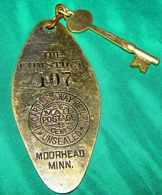 Hotel Comstock-Moorhead,minn.-Antique Skeleton Room Key And Metal Fob-1920's/30S