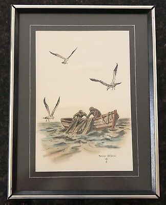 Maurice Gregoire Signed Fishermen Original Drawing Ink Charcoal & Pastel Framed