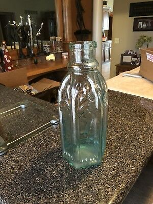 Cathedral Pickle Bottle- Aqua- 13 1/8 inches
