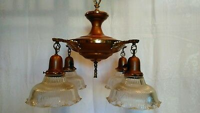 Vintage Lighting 1920s pan chandelier original finish with 4 Fluted Glass Shades