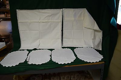 Vintage Lot of 6 Hungarian Stamped Embroidery Pillow Cases & Placemats