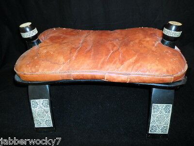 Camel Saddle Leather & Wood Foot Stool / Ottoman Bench Chair Decor