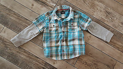 Baby Boy Long Sleeve Blue Plaid Button Up Top. Size 24M. Carters.