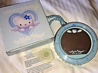 Vintage 2001 Sanrio HELLO KITTY Blue Angel BATH CLOCK With Mirror ~New in Box