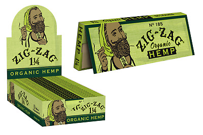 Zig-Zag Green Organic 1 1/4 1.25 - Box 24 PACKS -  Cigarette Rolling Papers