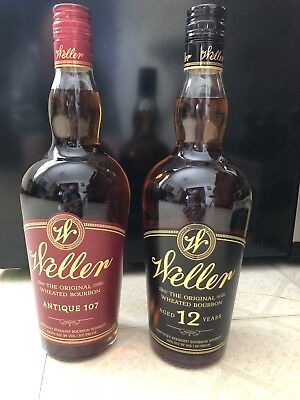 "Weller 12 Year & Antique 107!!! ""Empty Bottles"" Poor mans Pappy"